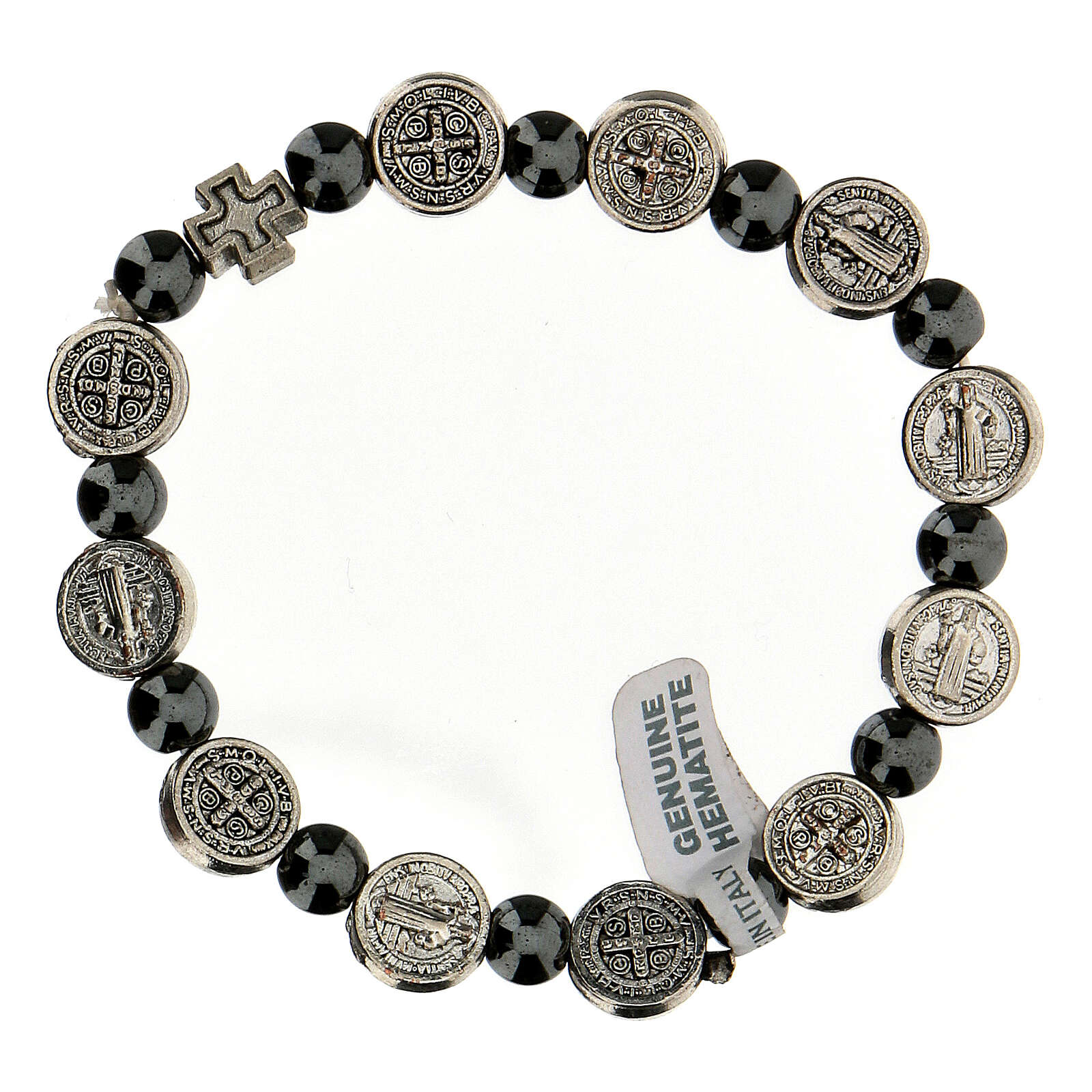 Decade rosary bracelet in hematite 7 mm with zamac medals 4