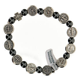 Decade rosary bracelet in hematite 7 mm with zamac medals s2