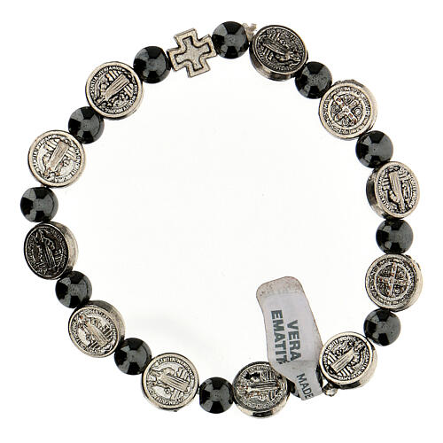 Decade rosary bracelet in hematite 7 mm with zamac medals 1