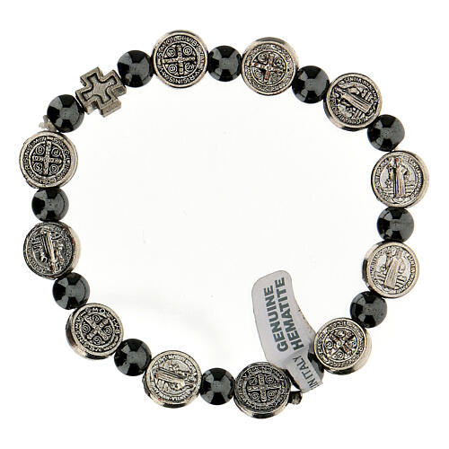 Decade rosary bracelet in hematite 7 mm with zamac medals 2