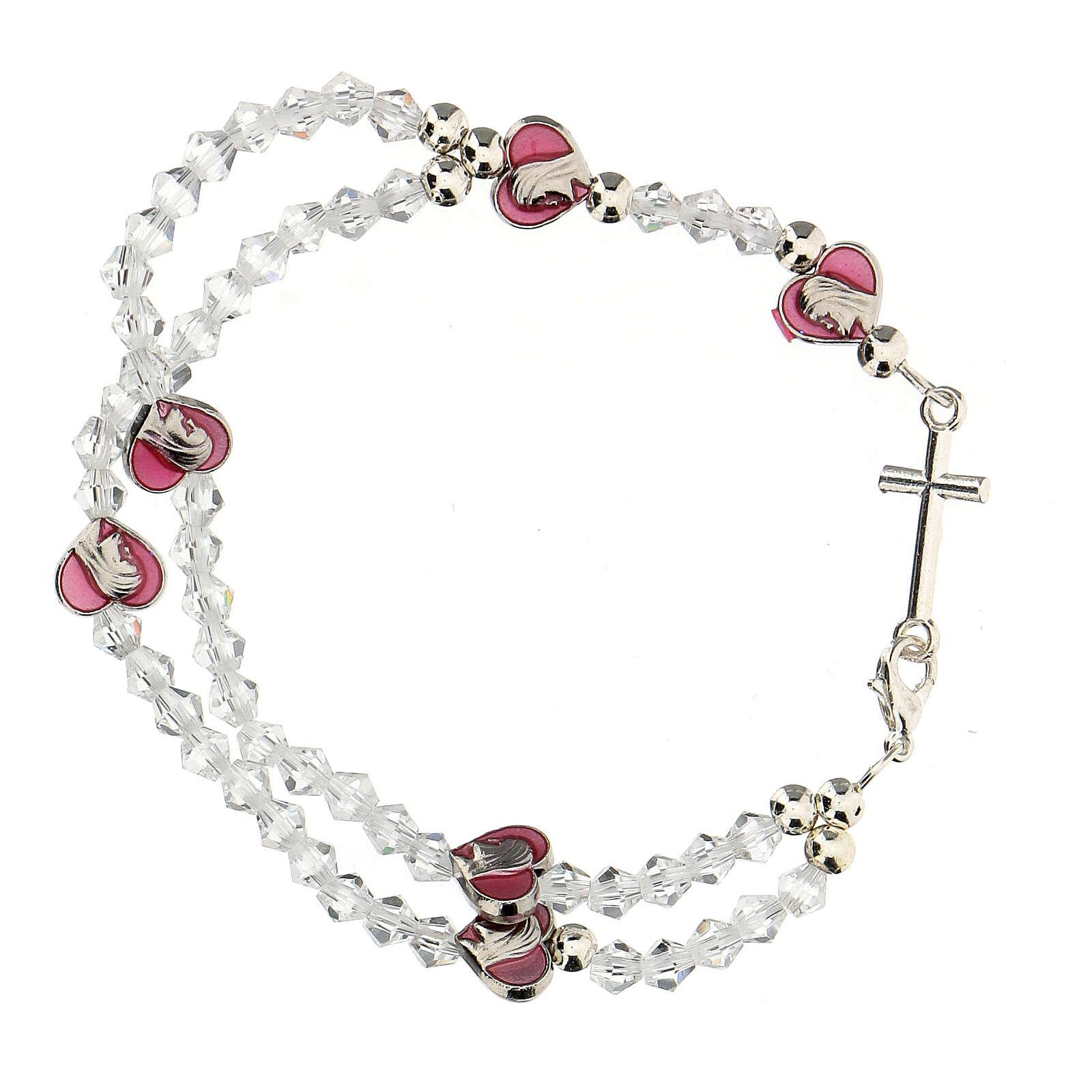 Pulsera elástica rosario con granos cristal 3 mm 4