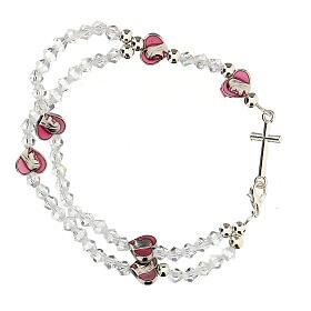 Pulsera elástica rosario con granos cristal 3 mm s2