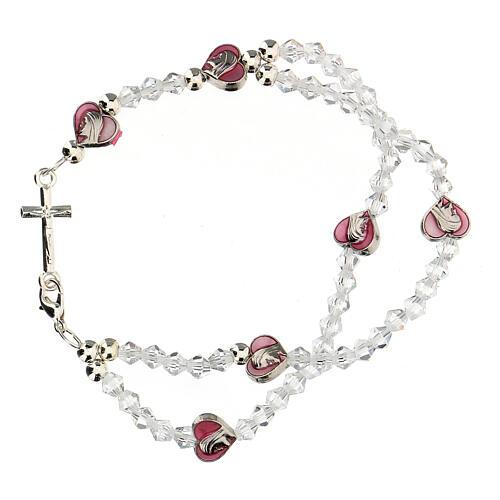 Pulsera elástica rosario con granos cristal 3 mm 1