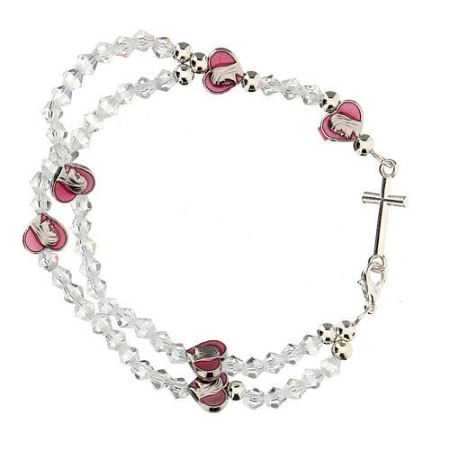 Pulsera elástica rosario con granos cristal 3 mm 2