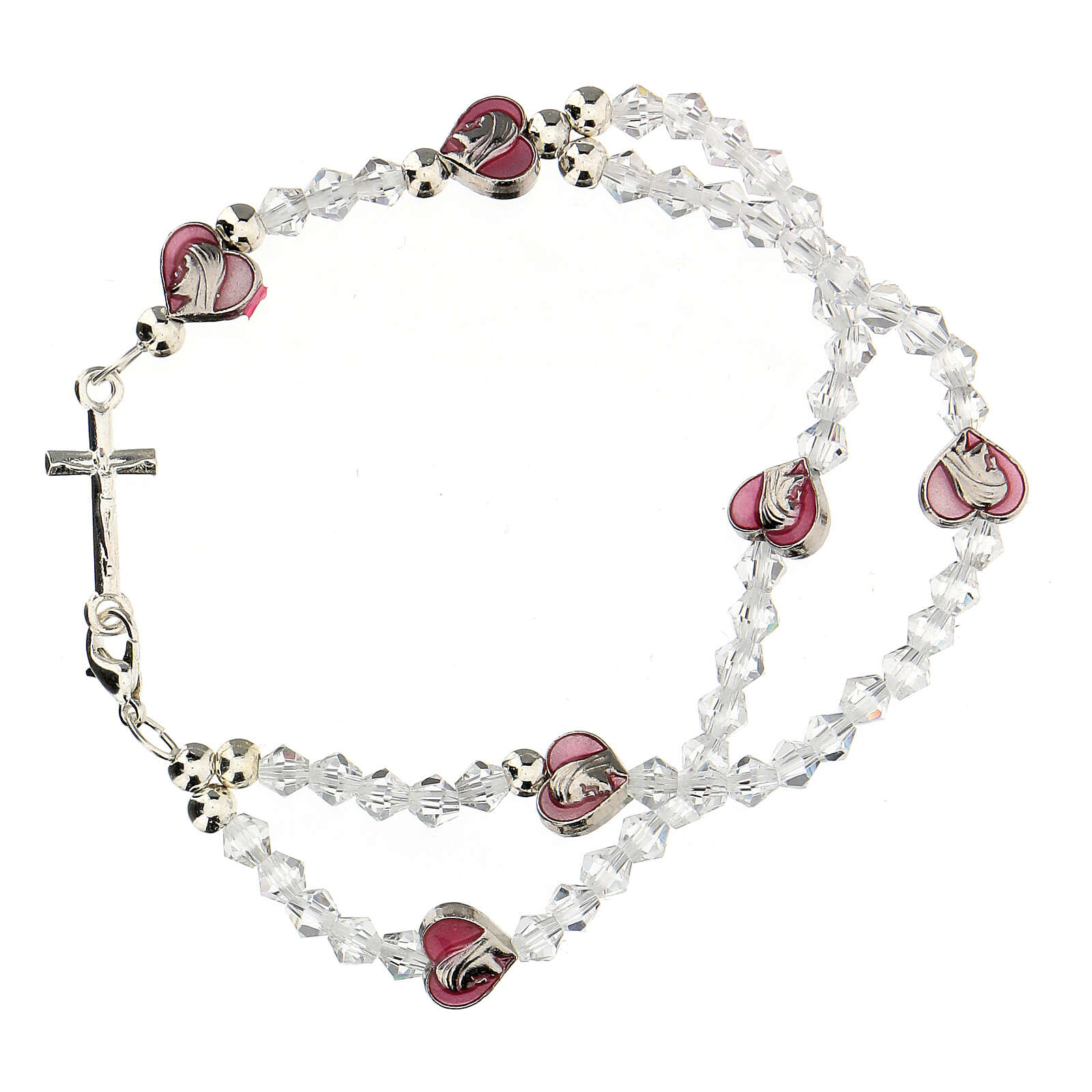 Elastic rosary bracelet with 3 mm crystal beads 4