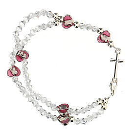 Elastic rosary bracelet with 3 mm crystal beads s2