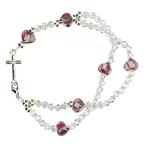 Elastic rosary bracelet with 3 mm crystal beads 1