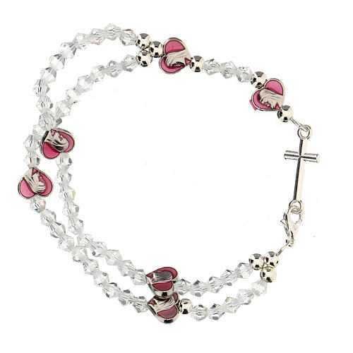 Elastic rosary bracelet with 3 mm crystal beads 2