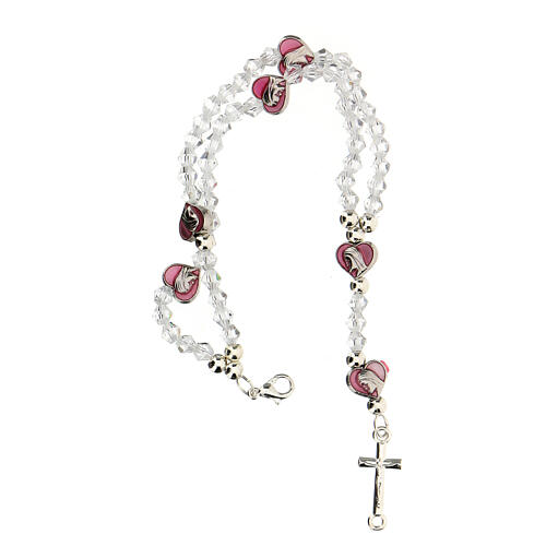 Elastic rosary bracelet with 3 mm crystal beads 3