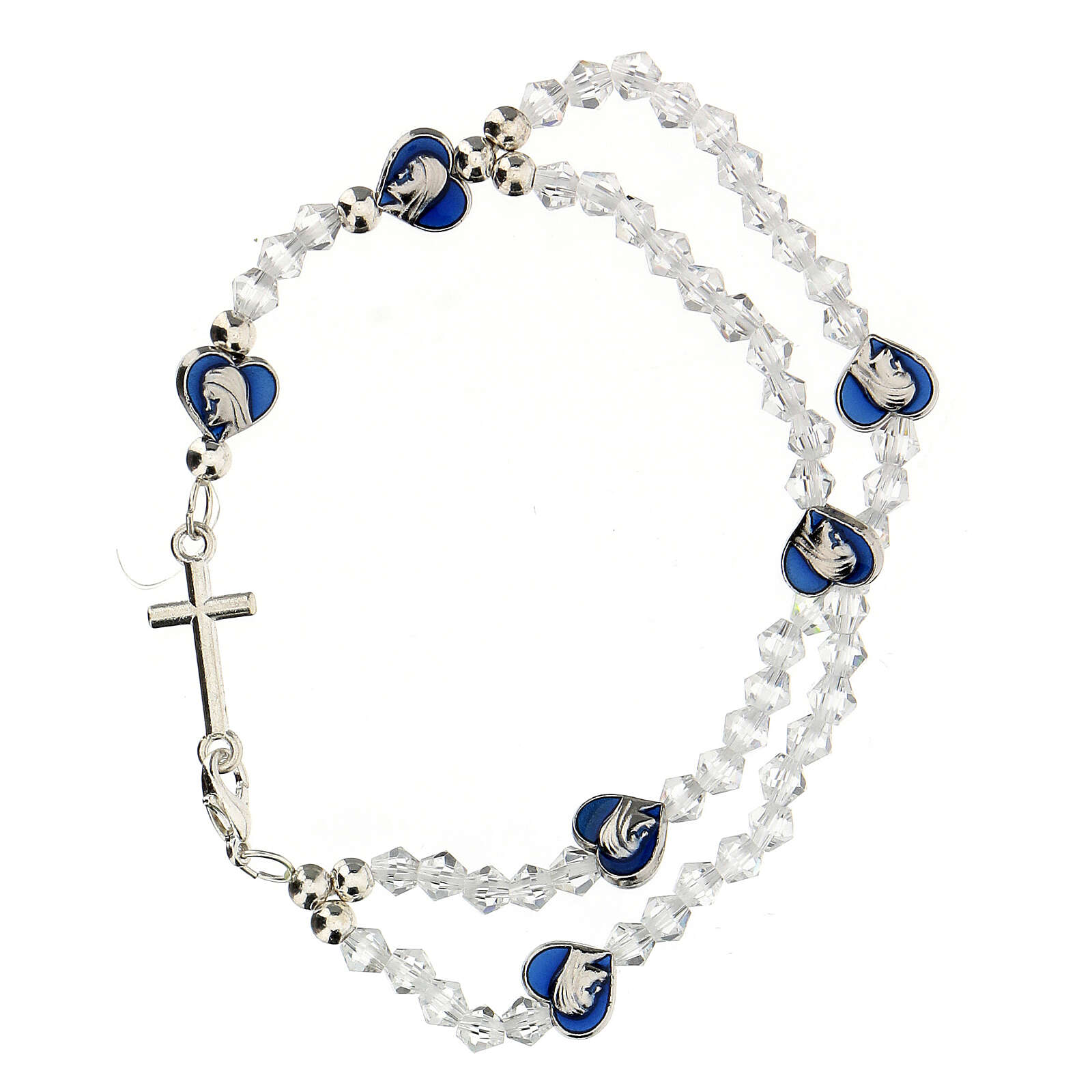 Elastic rosary bracelet with 3 mm transparent beads 4