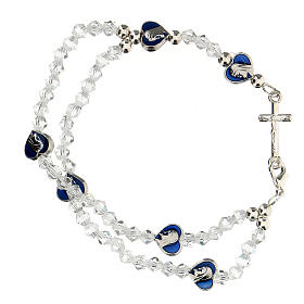 Elastic rosary bracelet with 3 mm transparent beads s1