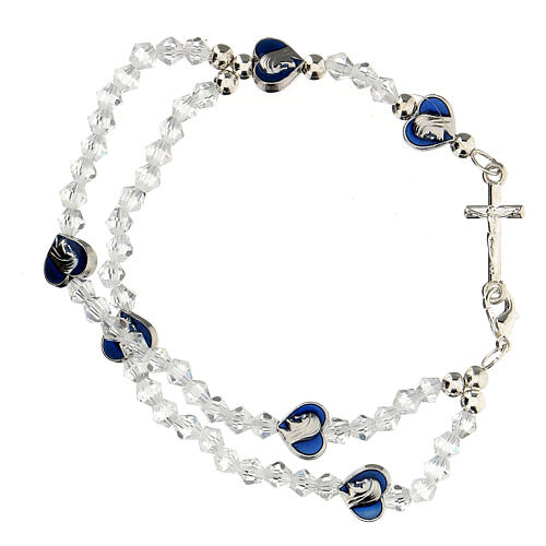 Elastic rosary bracelet with 3 mm transparent beads 1