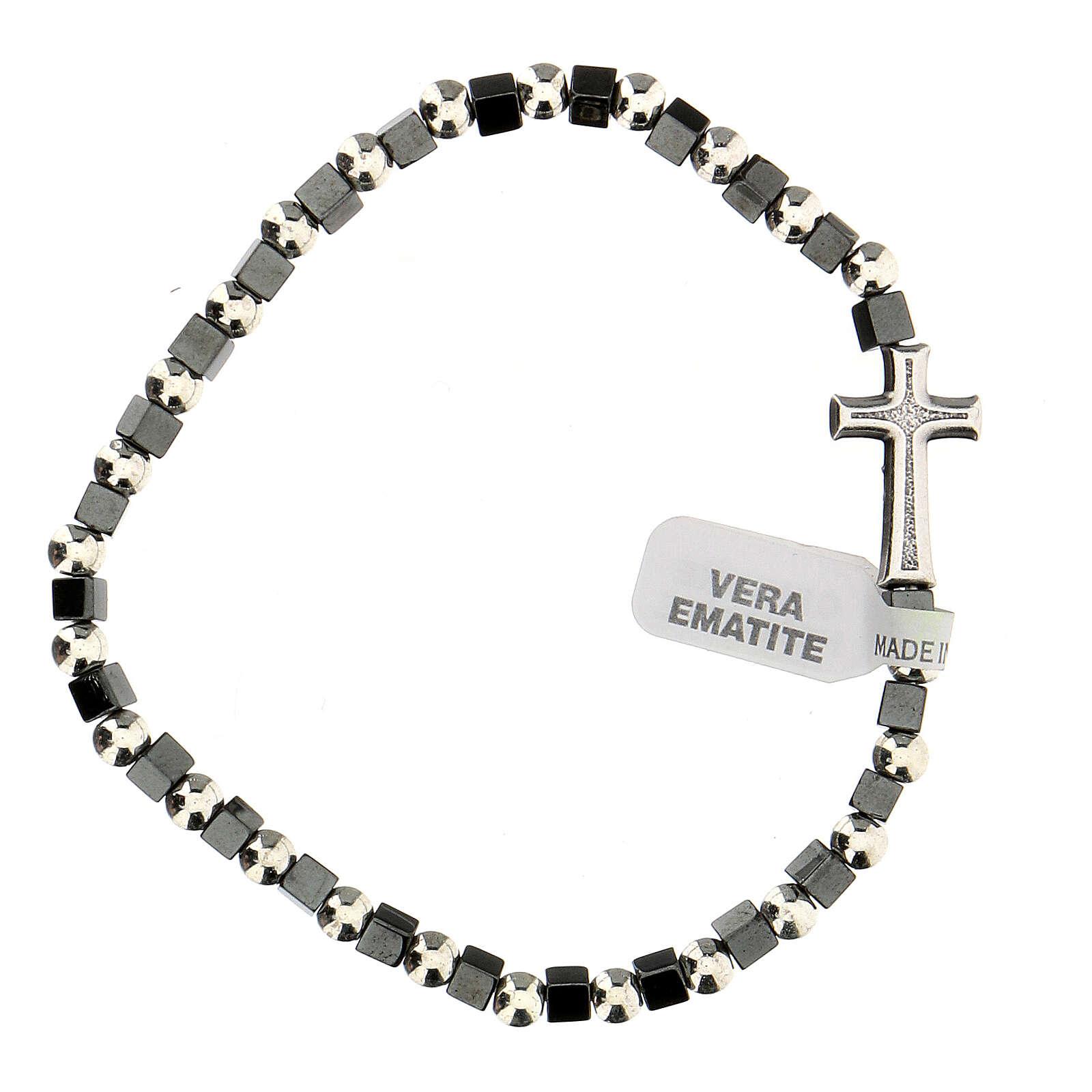 Bracelet hématite avec grains 3 mm avec croix passante 4