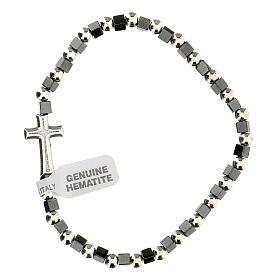 Bracelet hématite avec grains 3 mm avec croix passante s2