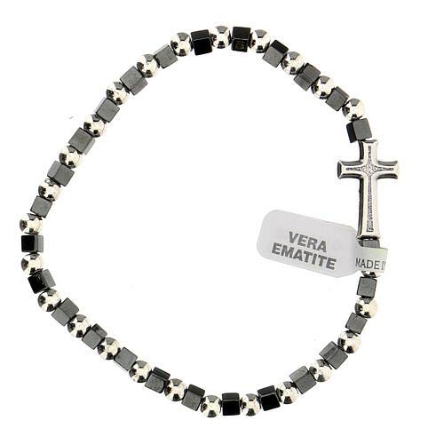 Bracelet hématite avec grains 3 mm avec croix passante 1