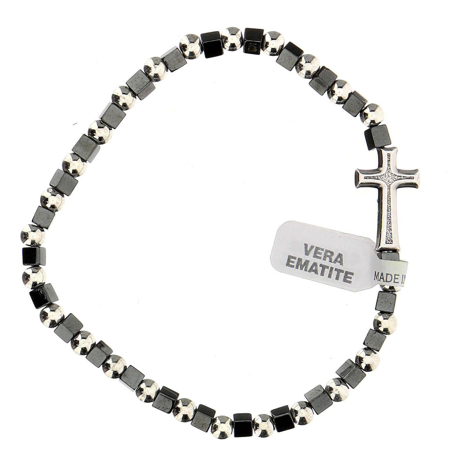 Hematite bracelet with 3 mm beads and cross charm 4
