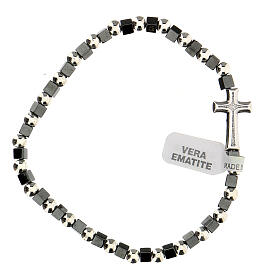 Hematite bracelet with 3 mm beads and cross charm s1
