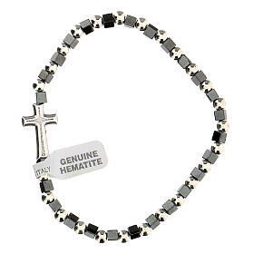 Hematite bracelet with 3 mm beads and cross charm s2