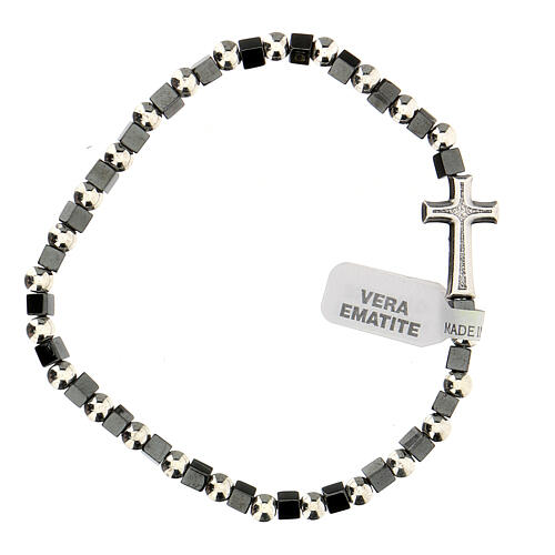 Hematite bracelet with 3 mm beads and cross charm 1