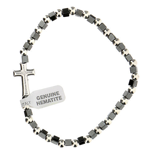 Hematite bracelet with 3 mm beads and cross charm 2