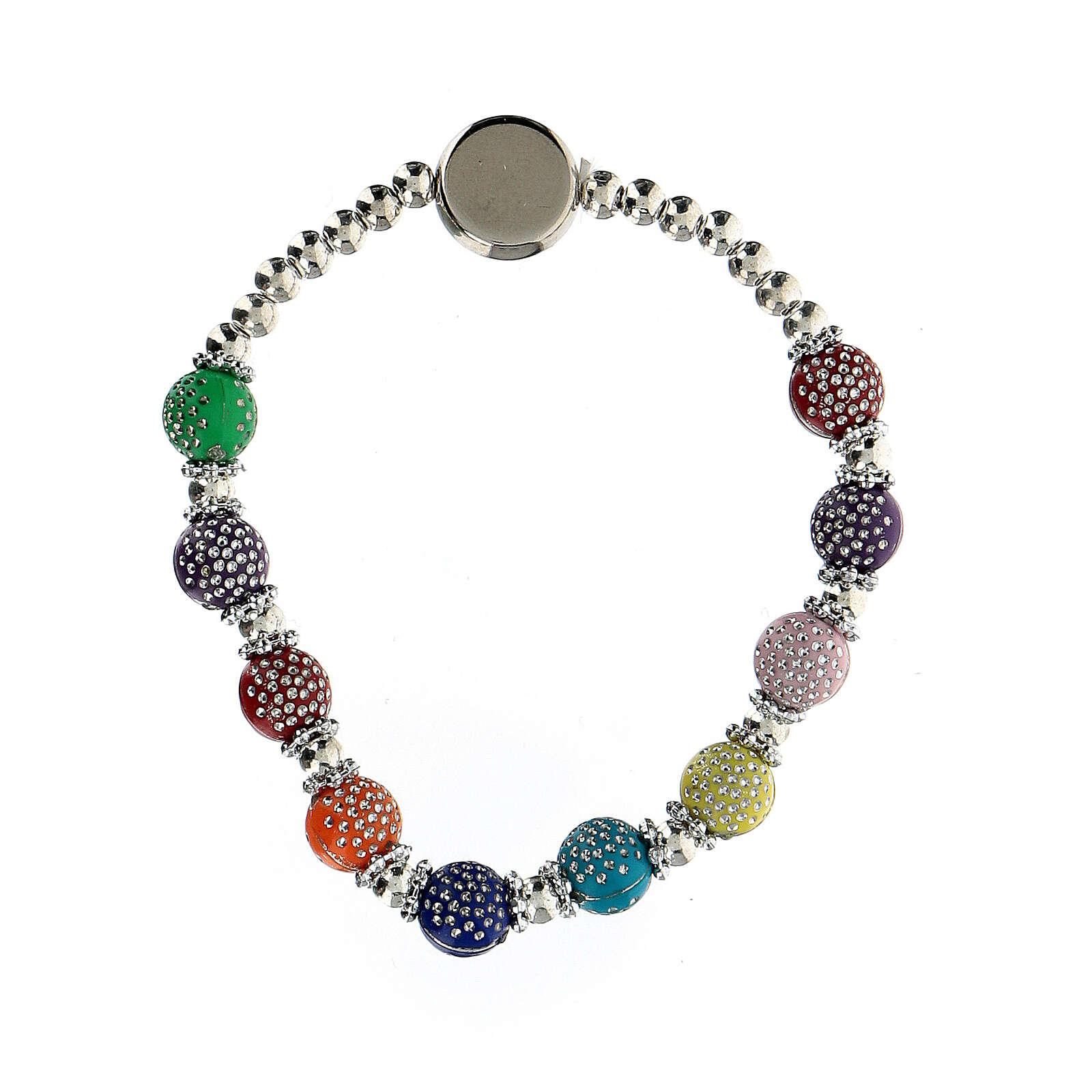 Bracelet dizainier 8x7 mm avec grains en plastique couleurs divers 4