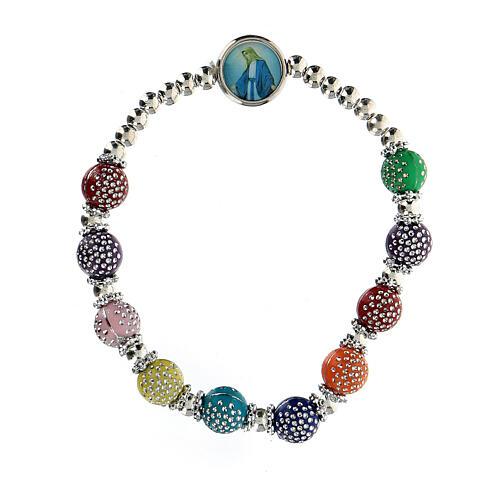 Bracelet dizainier 8x7 mm avec grains en plastique couleurs divers 1