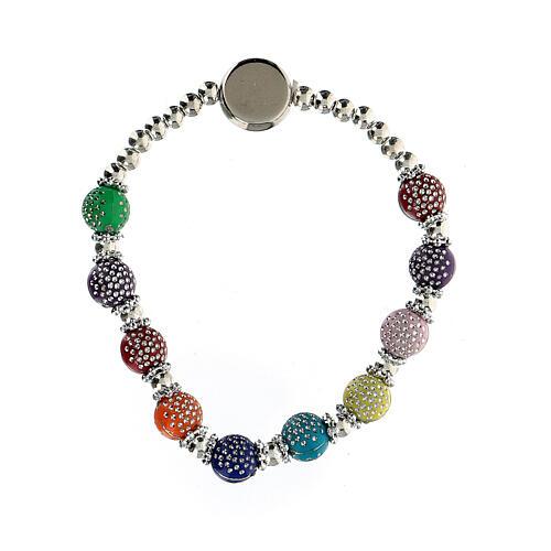 Bracelet dizainier 8x7 mm avec grains en plastique couleurs divers 2