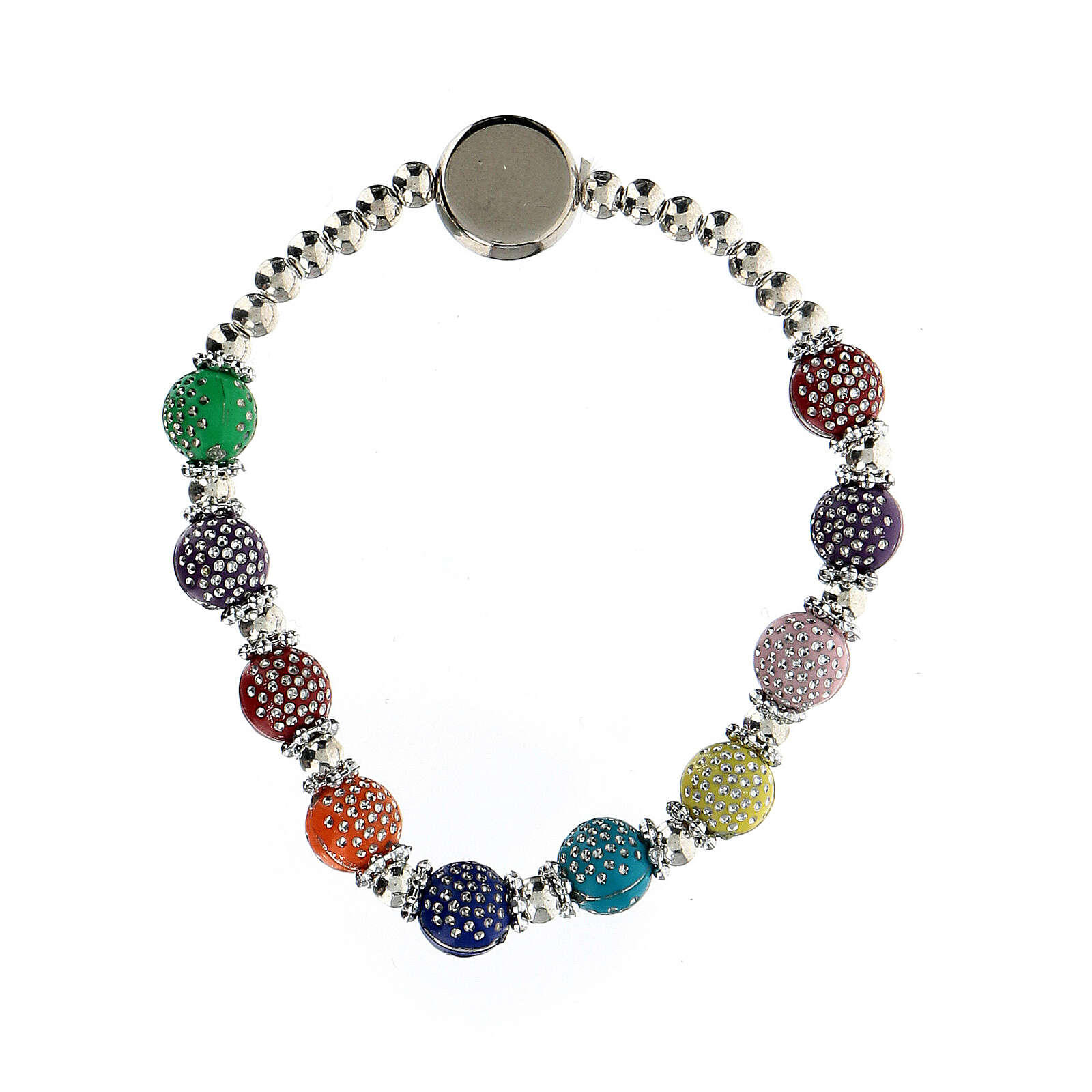 Rosary bracelet with 8x7 mm colored beads in plastic 4