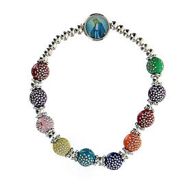 Rosary bracelet with 8x7 mm colored beads in plastic s1