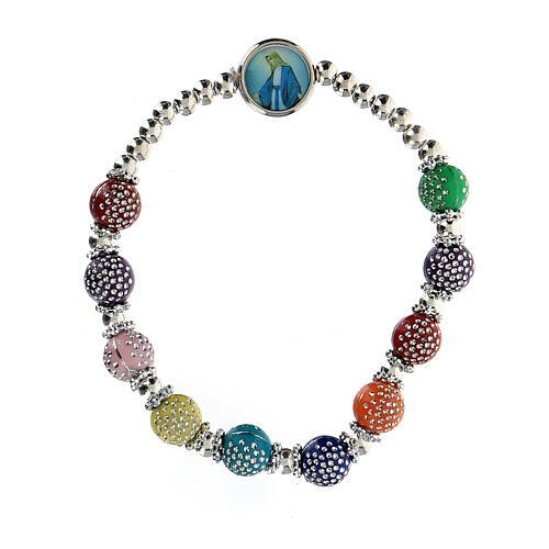 Rosary bracelet with 8x7 mm colored beads in plastic 1