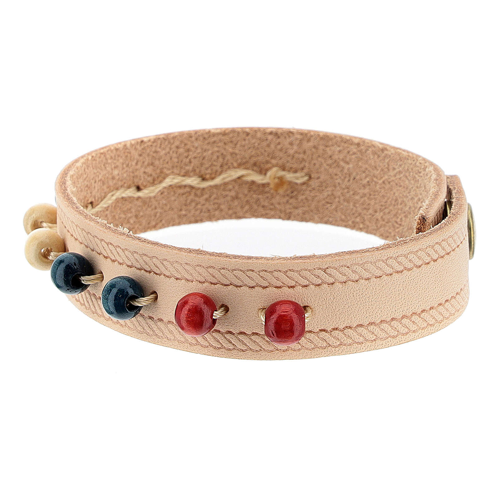 Pink real leather bracelet with missionary rosary 4
