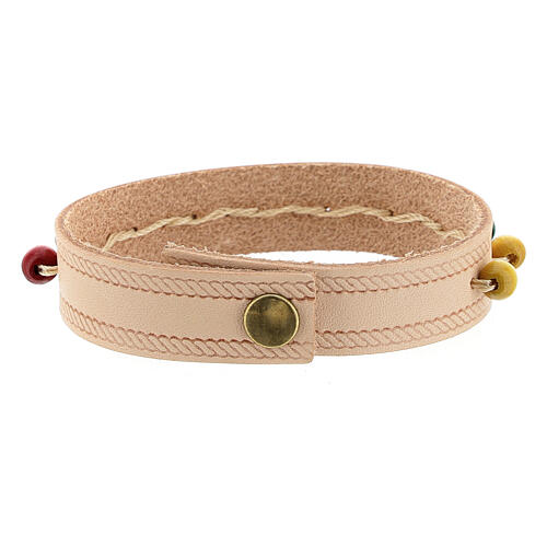 Pink real leather bracelet with missionary rosary 5