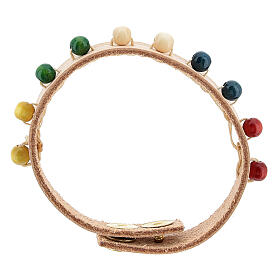 Bracelet cuir véritable rose dizainier missionnaire s1