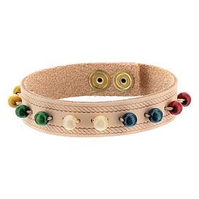 Bracelet cuir véritable rose dizainier missionnaire s2