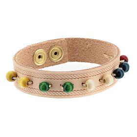 Bracelet cuir véritable rose dizainier missionnaire s4