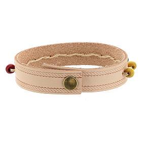 Bracelet cuir véritable rose dizainier missionnaire s5