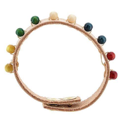 Bracelet cuir véritable rose dizainier missionnaire 1