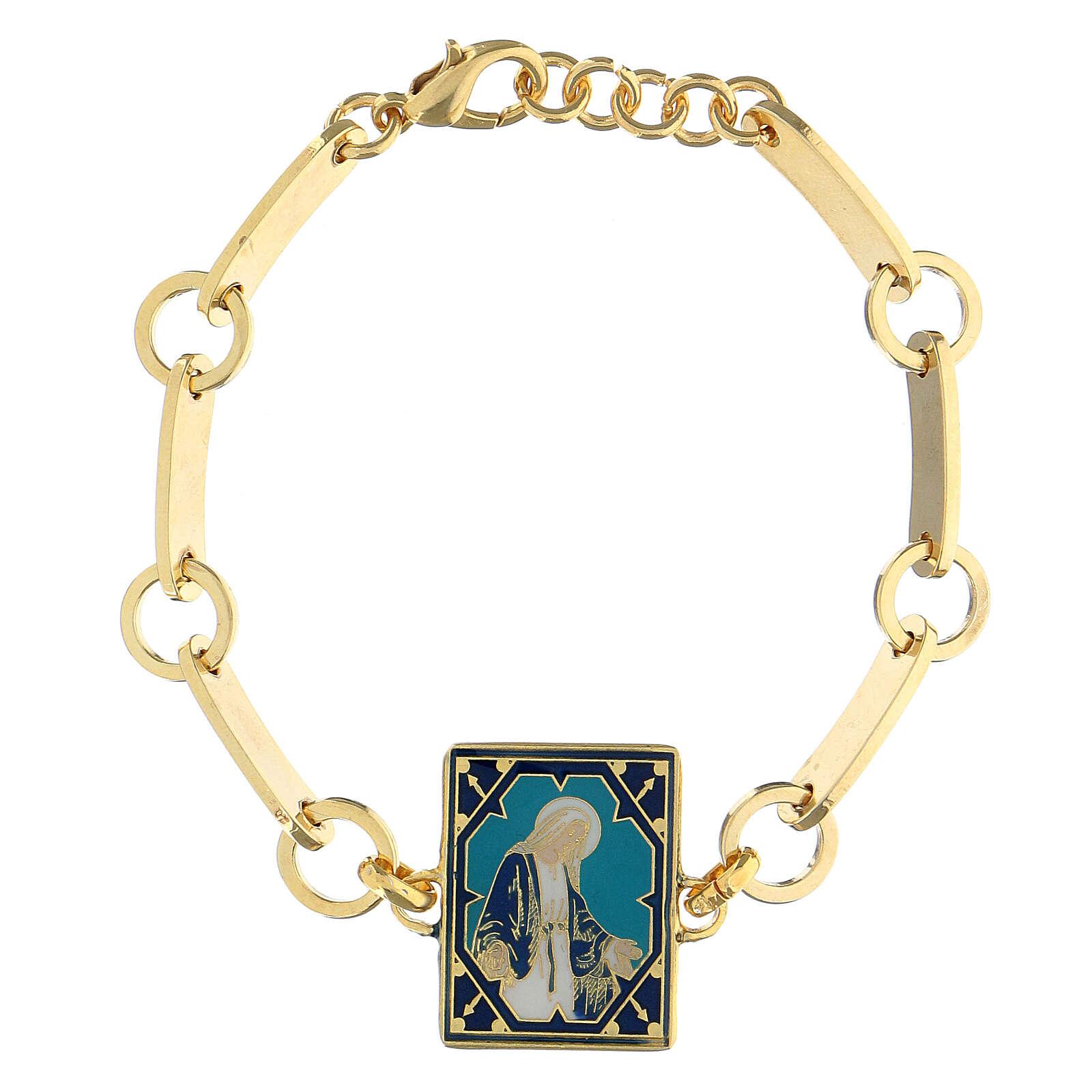 Bracciale Madonna Miracolosa smalto ottone dorato 4