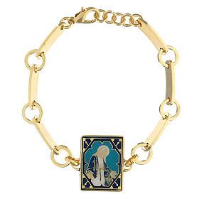 Bracciale Madonna Miracolosa smalto ottone dorato s1