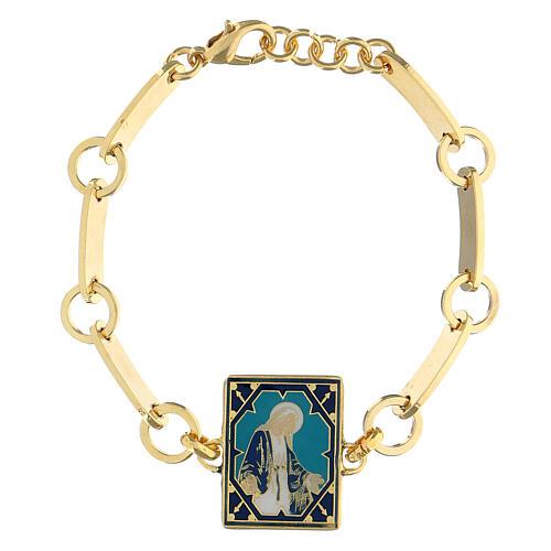 Bracciale Madonna Miracolosa smalto ottone dorato 1