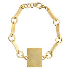 Pulseira Medalha Milagrosa esmalte latão dourado