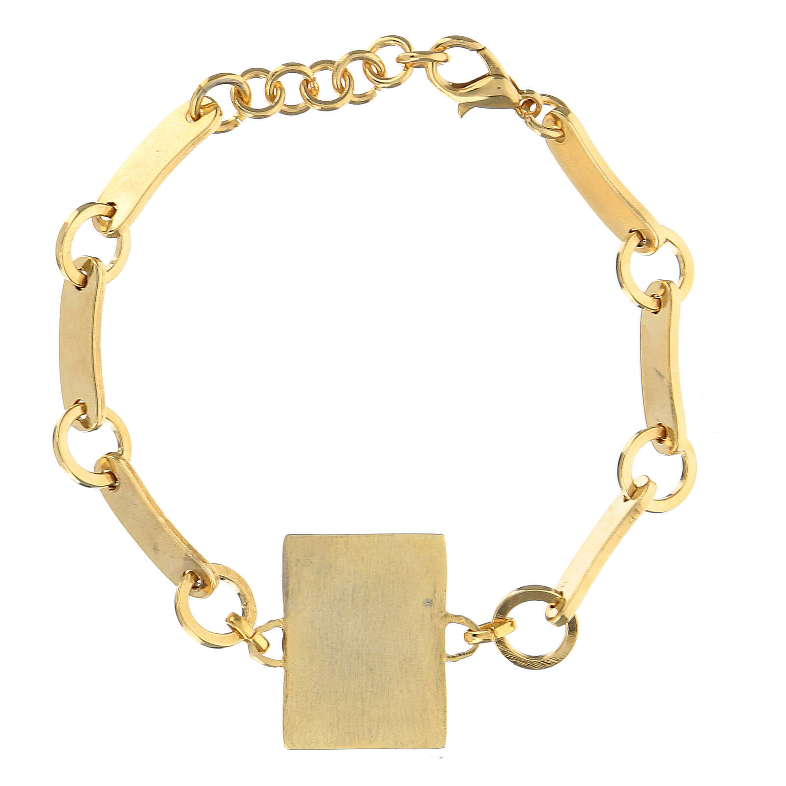Bracelet Padre Pio red background golden brass 4