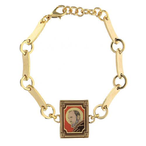 Bracelet Padre Pio red background golden brass 1