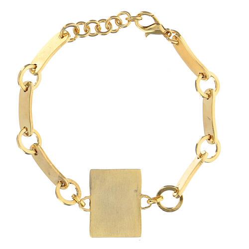 Bracelet Padre Pio red background golden brass 2
