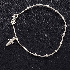 Rhodium-plated sterling silver bracelet with cross s2