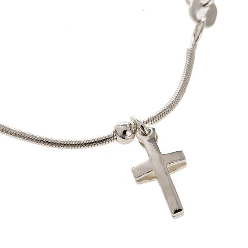 Rhodium-plated sterling silver bracelet with cross 1