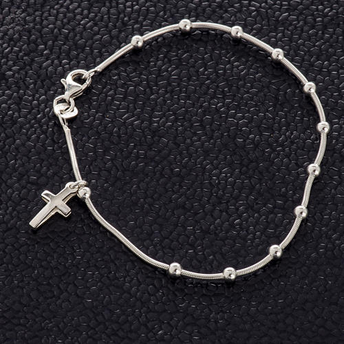 Rhodium-plated sterling silver bracelet with cross 2