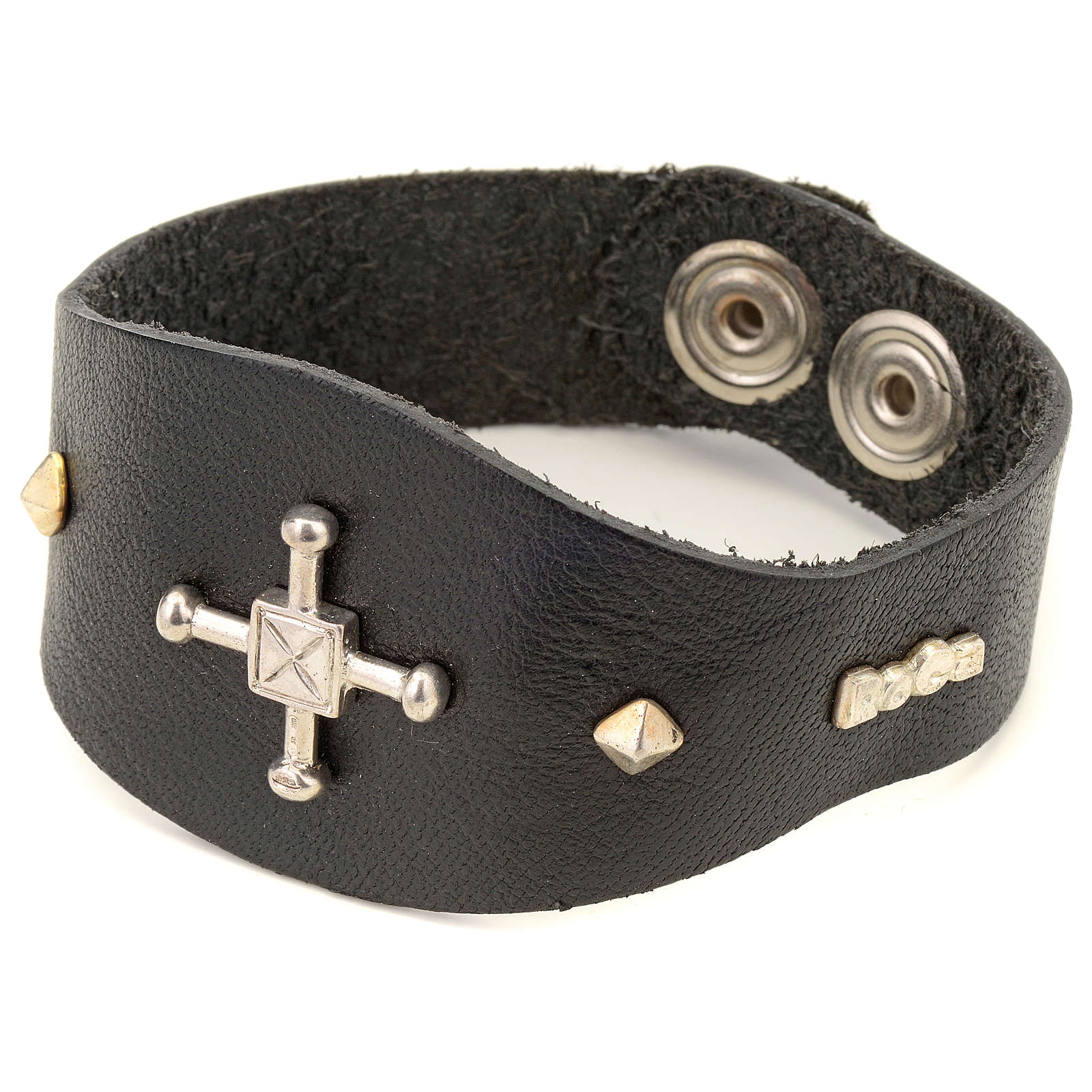 Bracelet in black leather with decorations in sterling silver 4