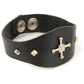 Bracelet in black leather with decorations in sterling silver s2