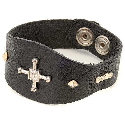 Bracelet in black leather with decorations in sterling silver 1